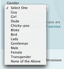 pownce gender select