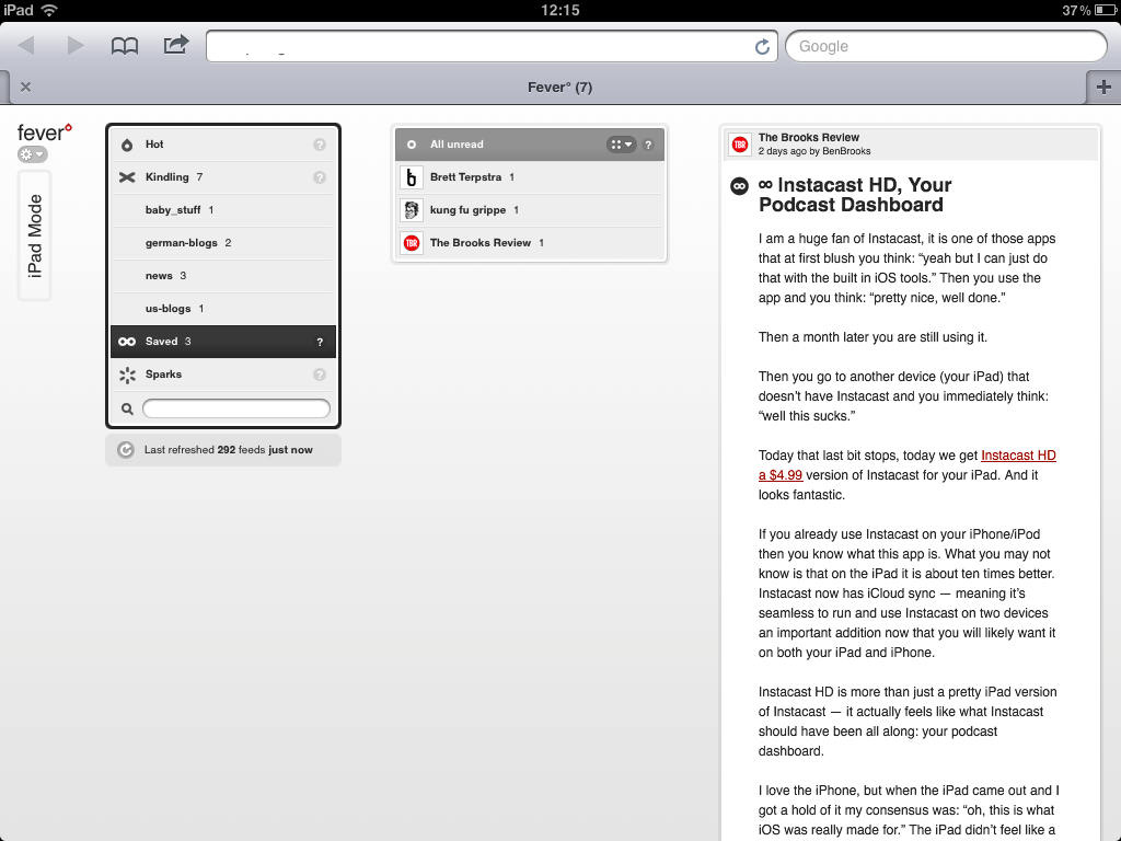 A better iPad view for feedafever